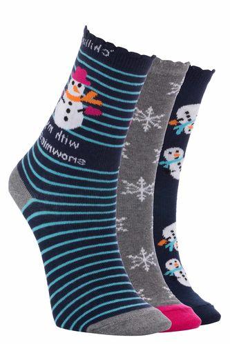 Kardan Adam Desenli Çorap