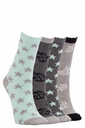 4'lü Palmiye Desenli Çorap Seti