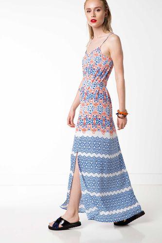 DeFacto Askılı Desenli Uzun Elbise