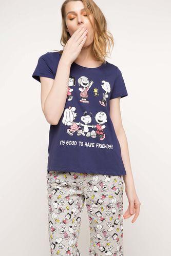 Snoopy Baskılı Lisanslı Pijama Takımı