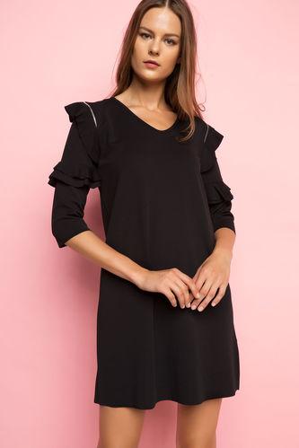 DeFacto Kolları Fırfırlı V Yaka Elbise