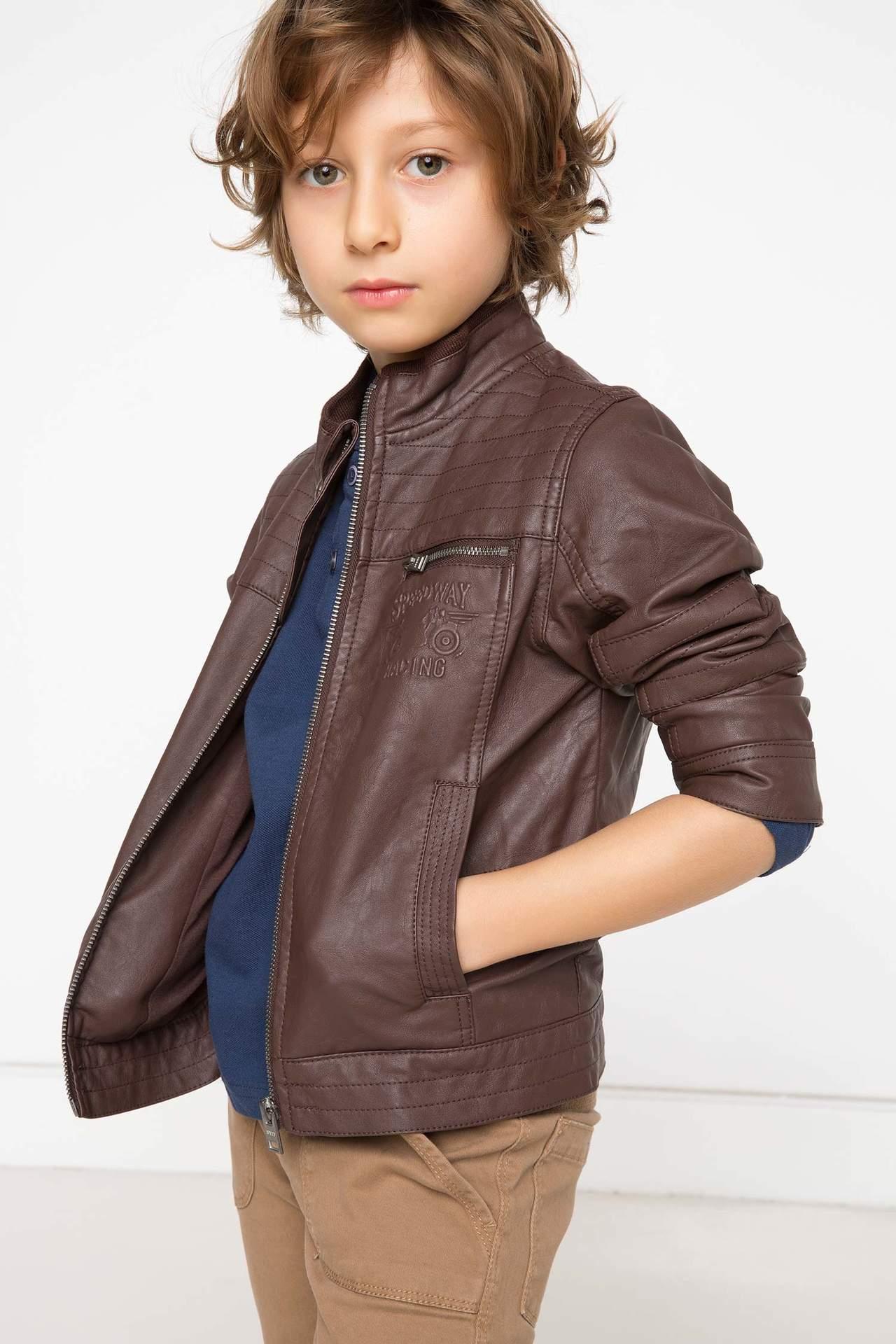 DeFacto Erkek Çocuk Armalı Trend Mont Kahverengi male