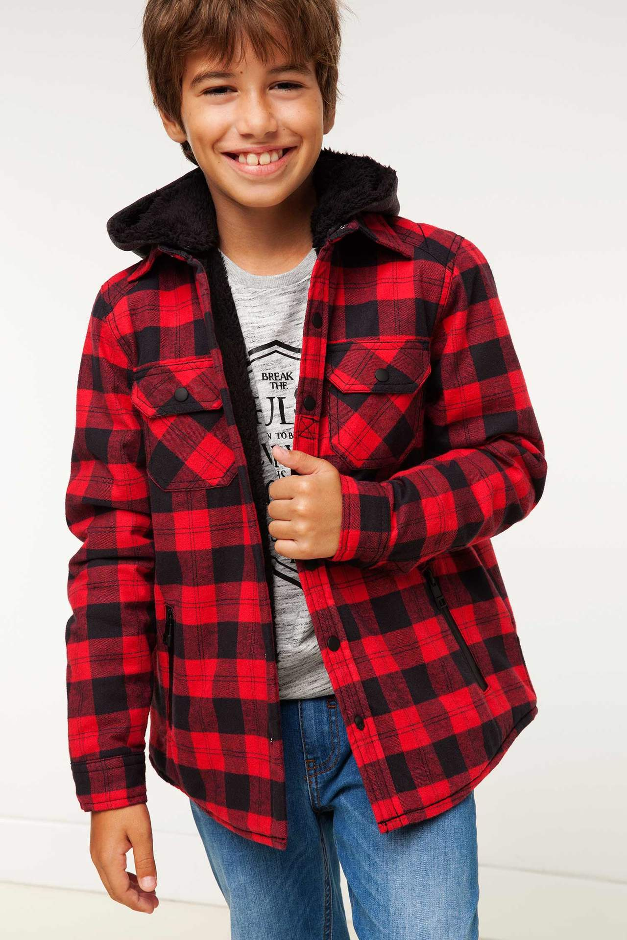 DeFacto Erkek Çocuk Çıkarılabilir Kapşonlu Ceket Kırmızı male