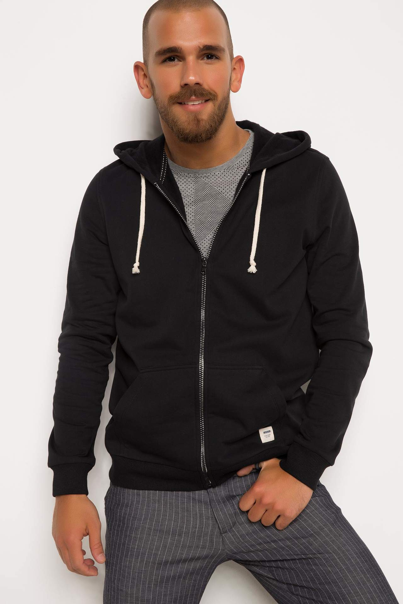Basic Kapşonlu Sweatshirt Hırka