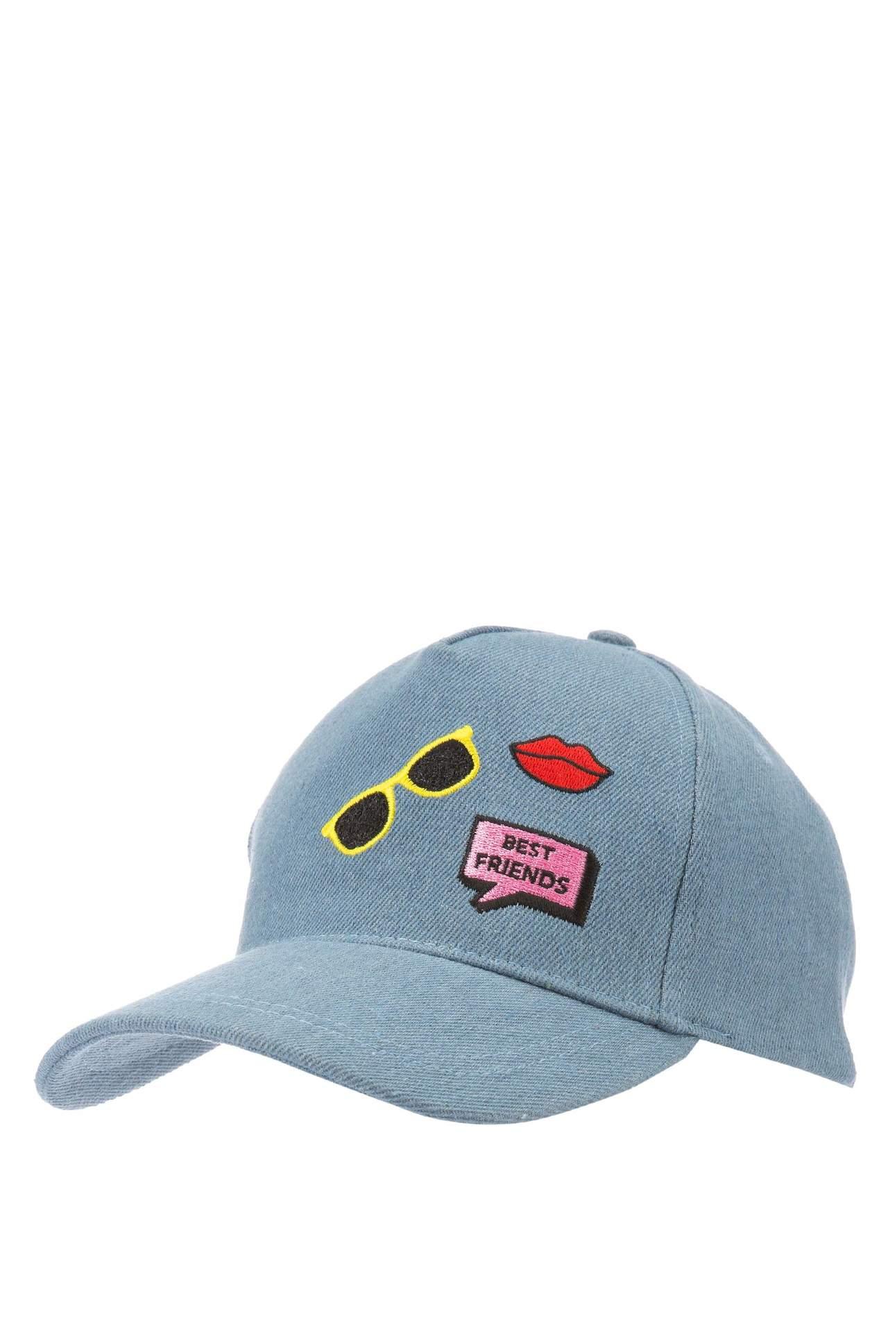 DeFacto Kız Çocuk Baskılı Şapka Mavi female