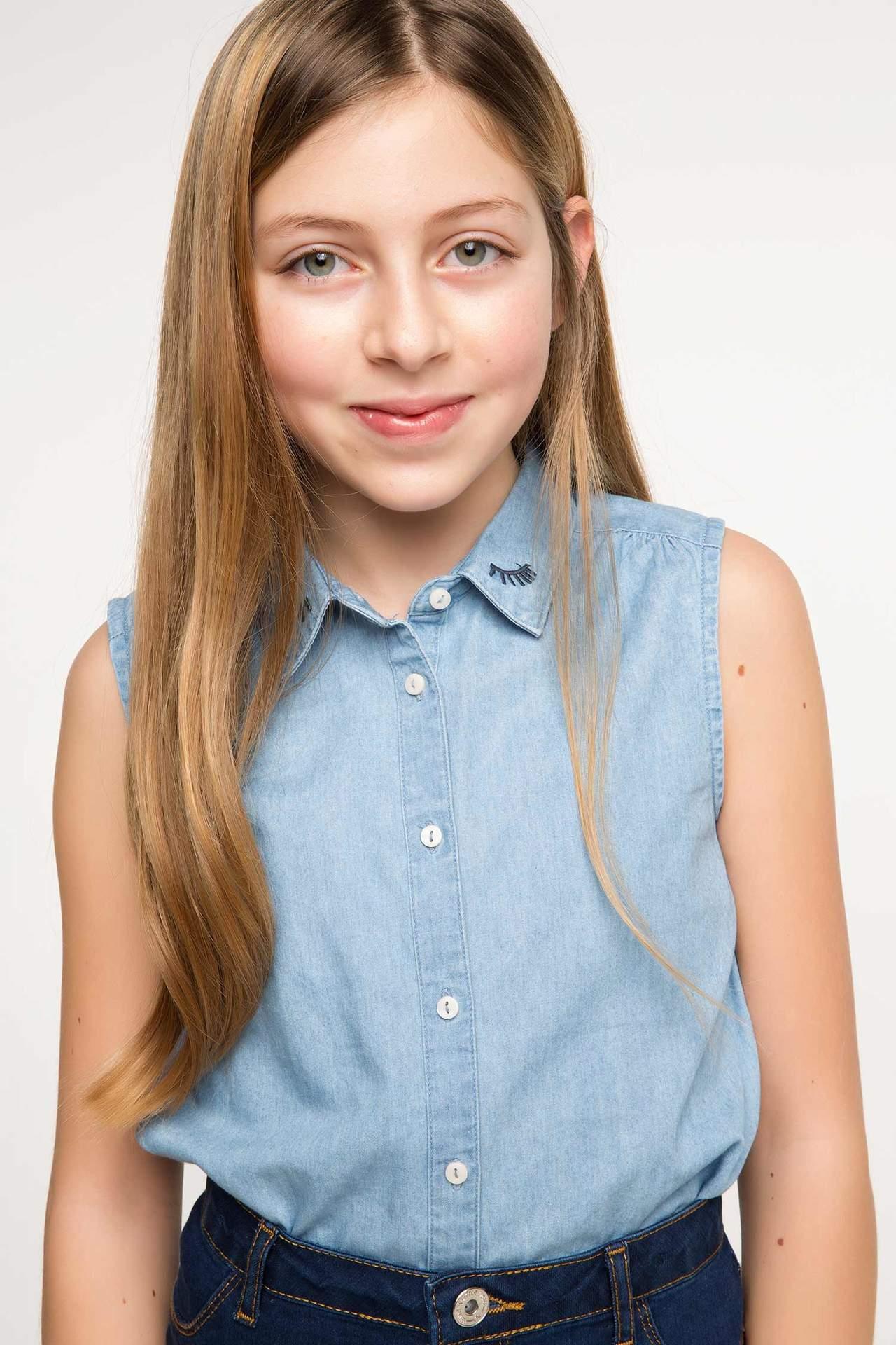 DeFacto Kız Çocuk Sıfır Kol Jean Gömlek Lacivert female