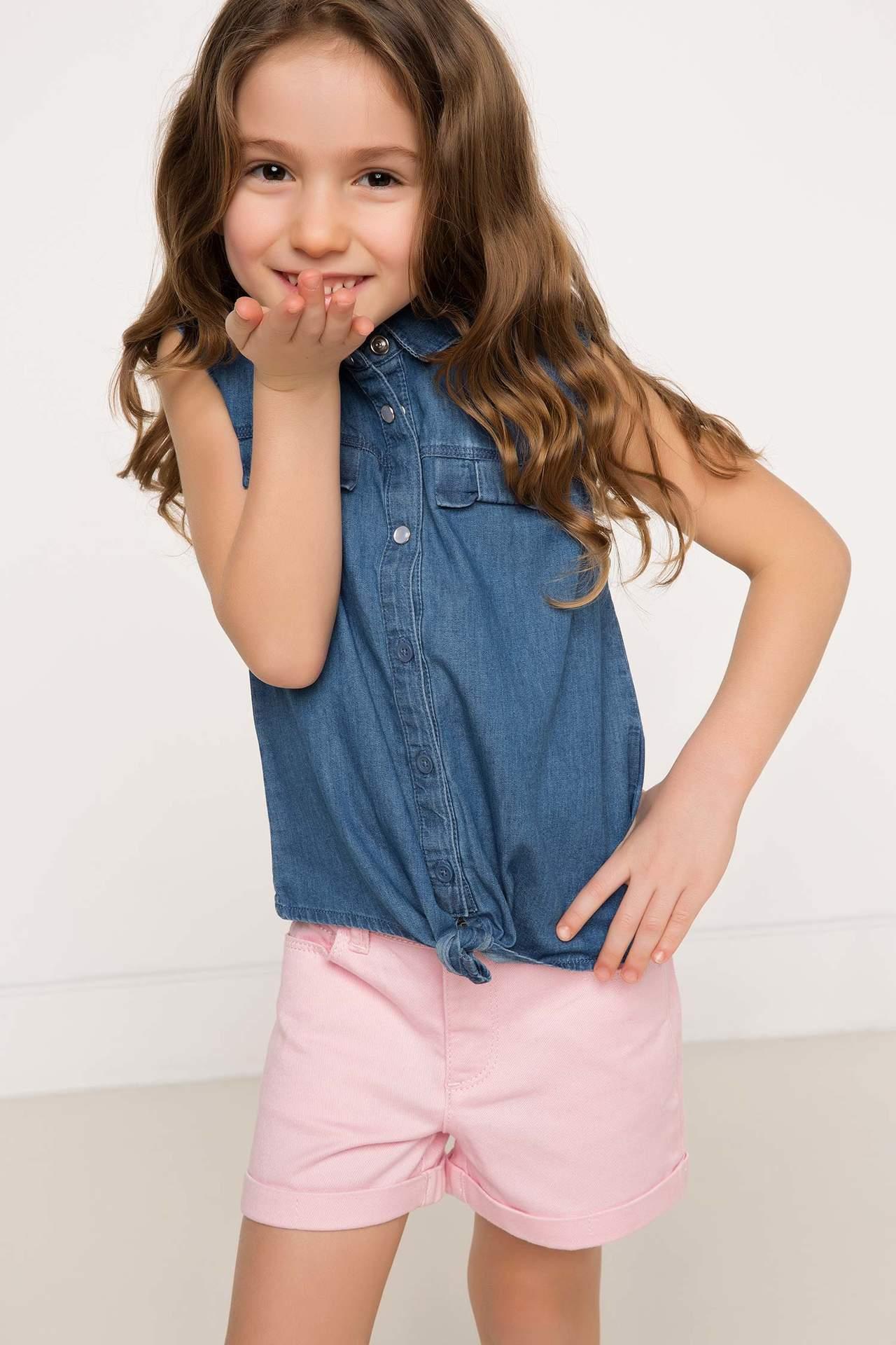 DeFacto Kız Çocuk Polo Yaka Jean Gömlek Mavi female