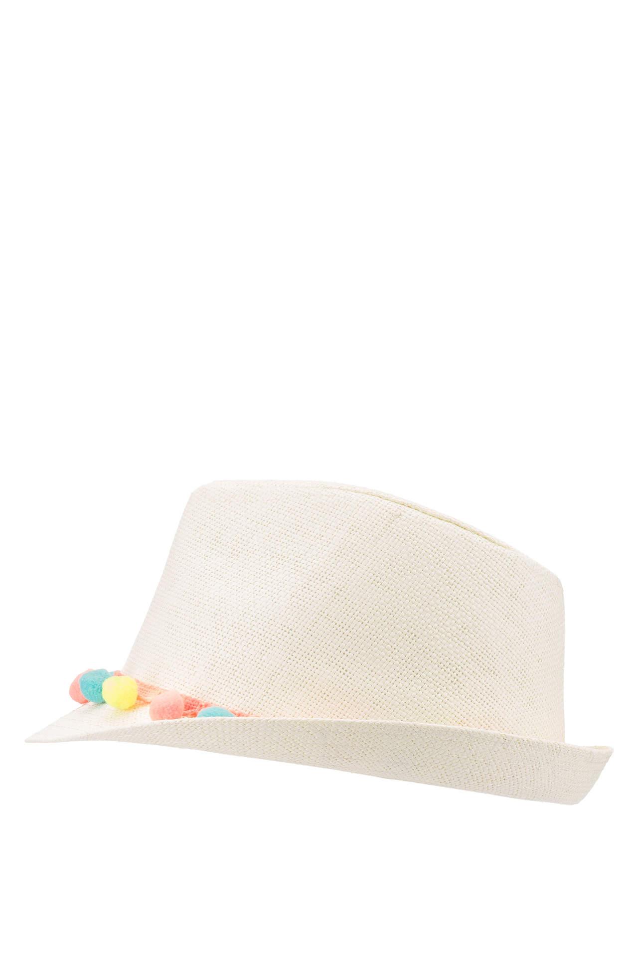 DeFacto Kız Çocuk Hasır Şapka Beyaz female
