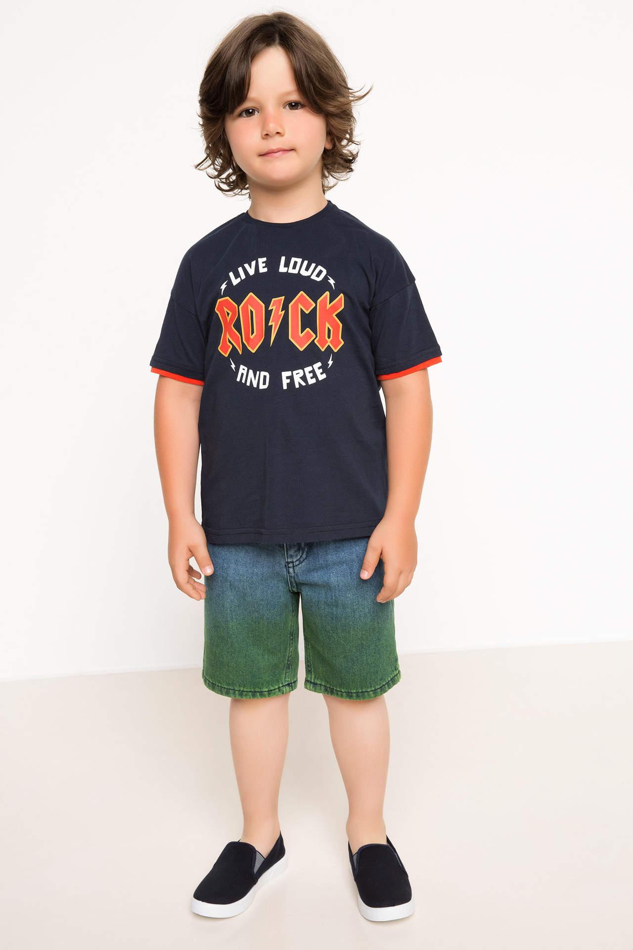 DeFacto Erkek Çocuk Jean Bermuda Mavi male