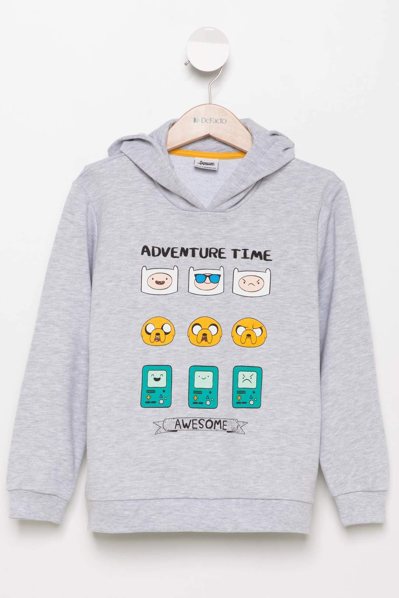 Adventure Time Lisanslı Renk Değiştiren Erkek Çocuk Kapşonlu Sweatshirt