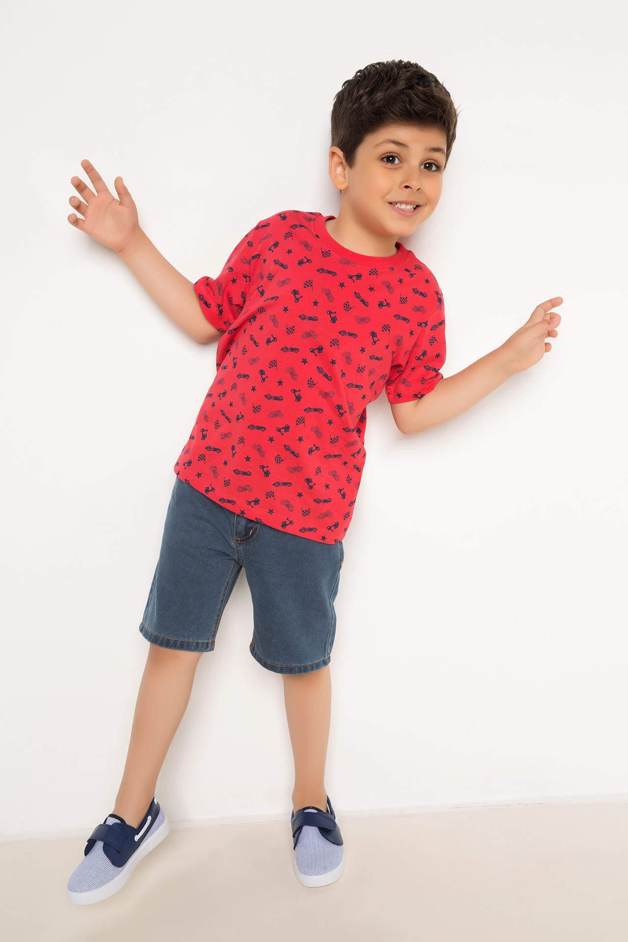 DeFacto Erkek Çocuk Basic Jean Bermuda Mavi male