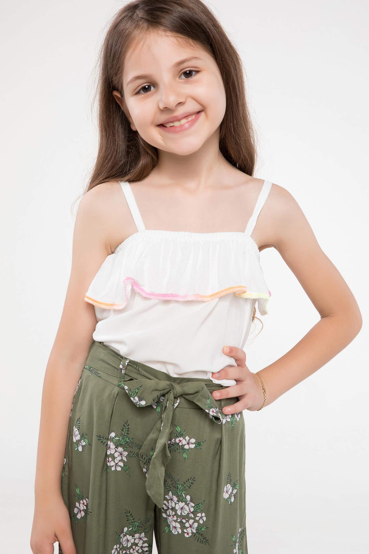DeFacto Kız Çocuk Askılı Bluz Beyaz female