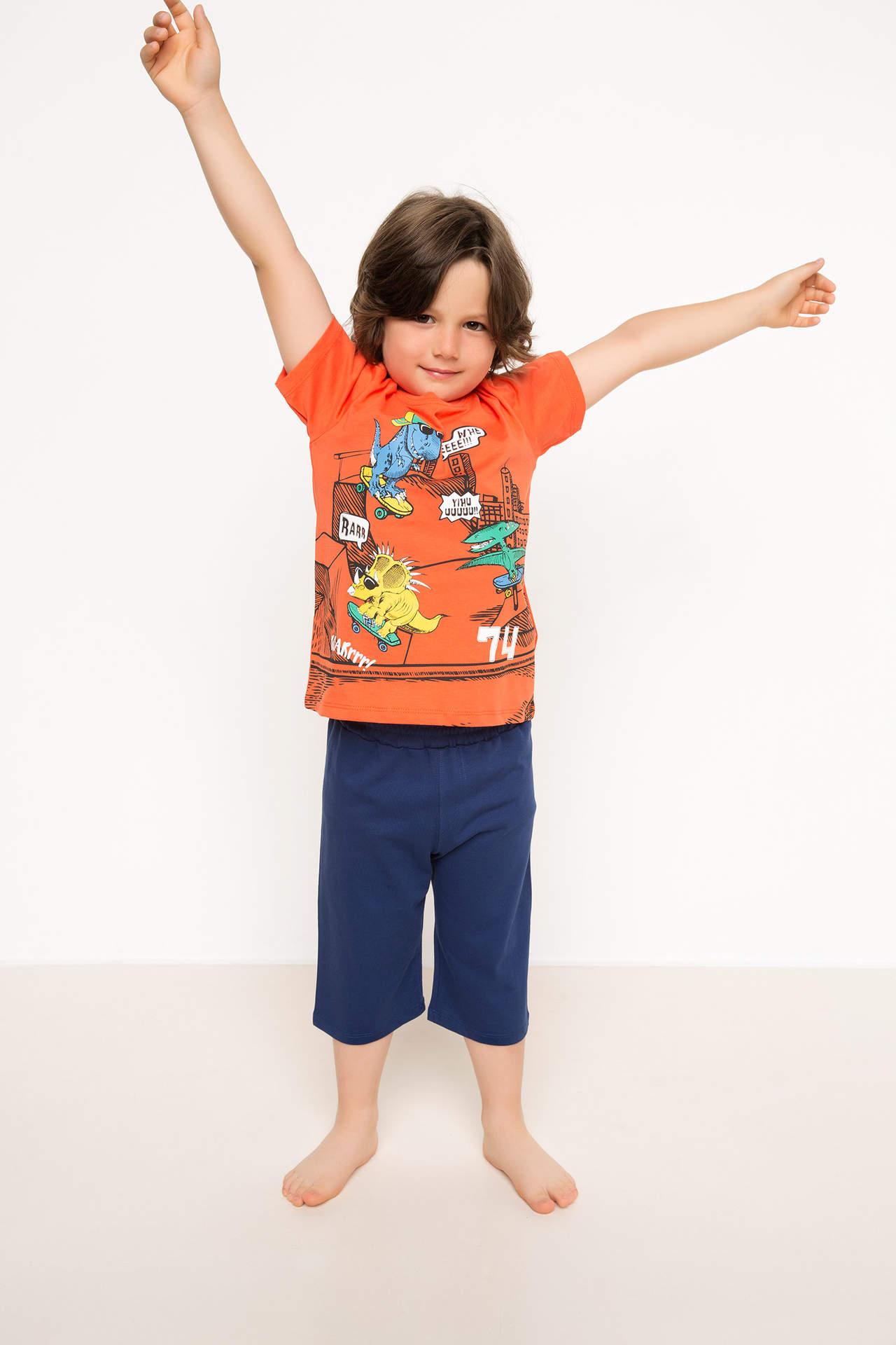 DeFacto Erkek Çocuk Baskılı Pijama Takımı Turuncu male