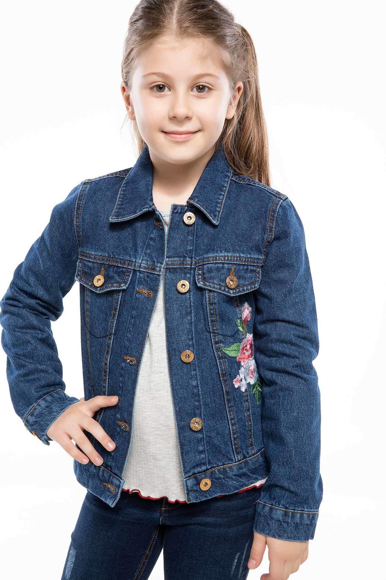DeFacto Kız Çocuk Trend Jean Ceket Mavi female