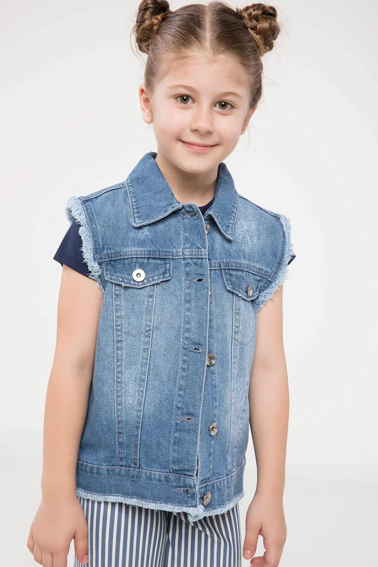 DeFacto Kız Çocuk Jean Yelek Mavi female