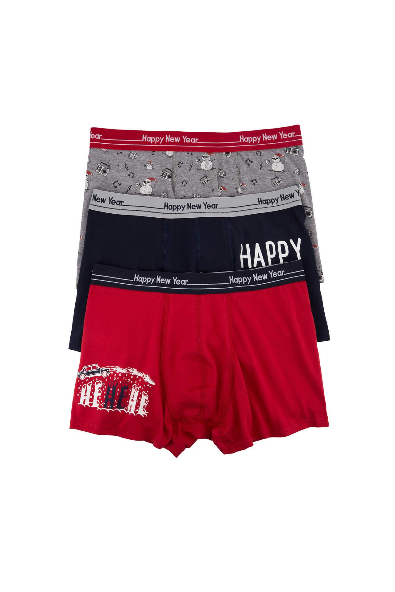 Yeni Yıl Temalı 3'lü Boxer İç Çamaşırı