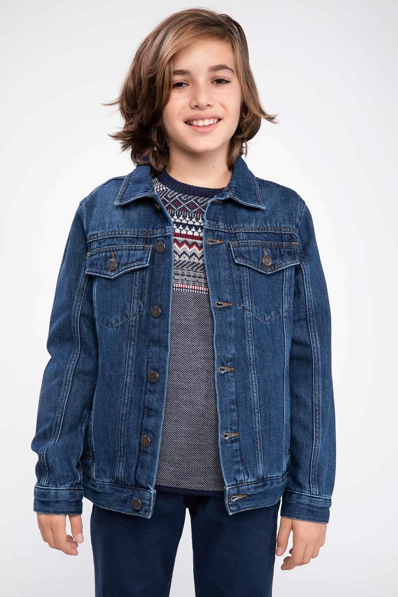 DeFacto Erkek Çocuk Basic Jean Ceket Mavi male