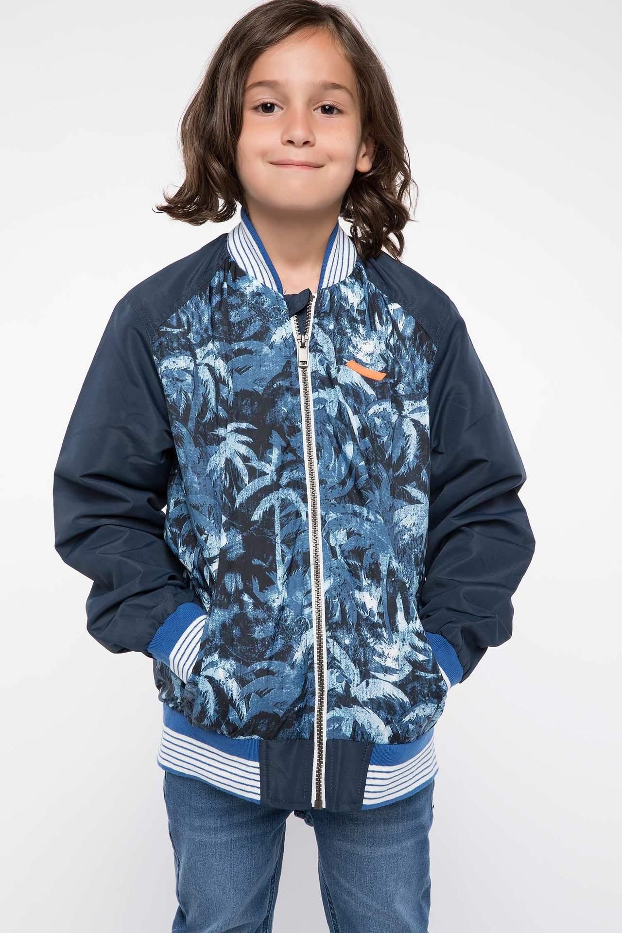 DeFacto Erkek Çocuk Baskılı Mont Mavi male