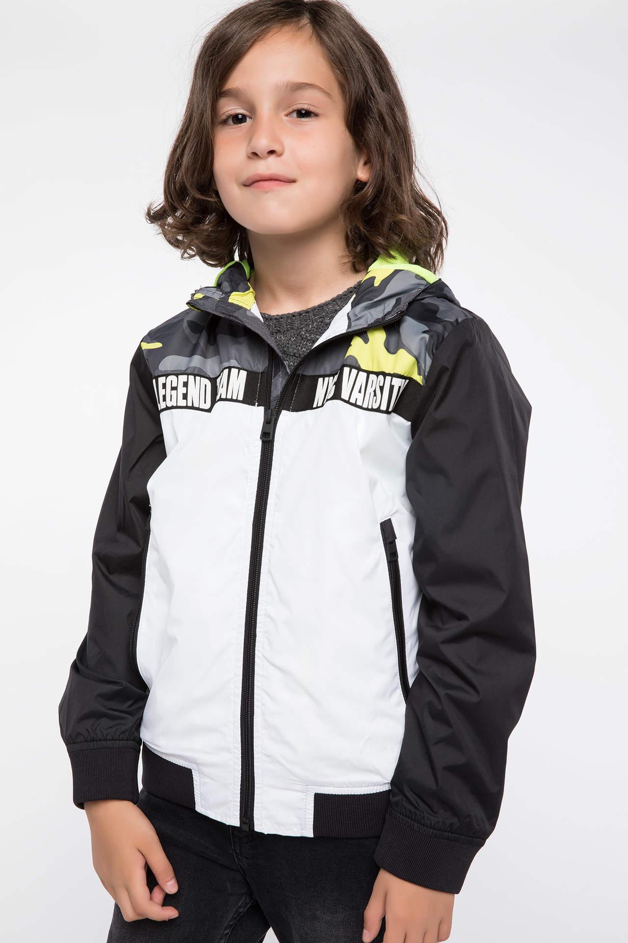DeFacto Erkek Çocuk Kapüşonlu Trend Mont Beyaz male