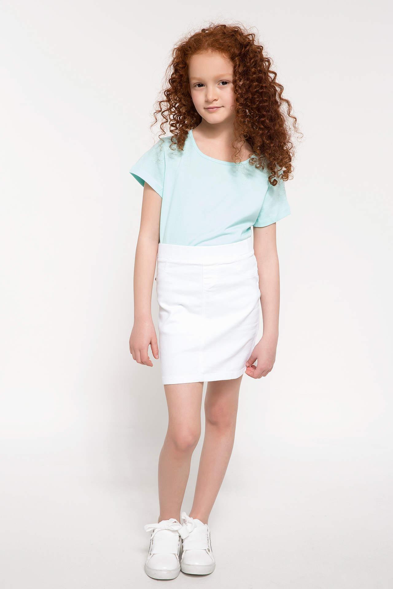 DeFacto Kız Çocuk Slim Fit Dokuma Etek Beyaz female