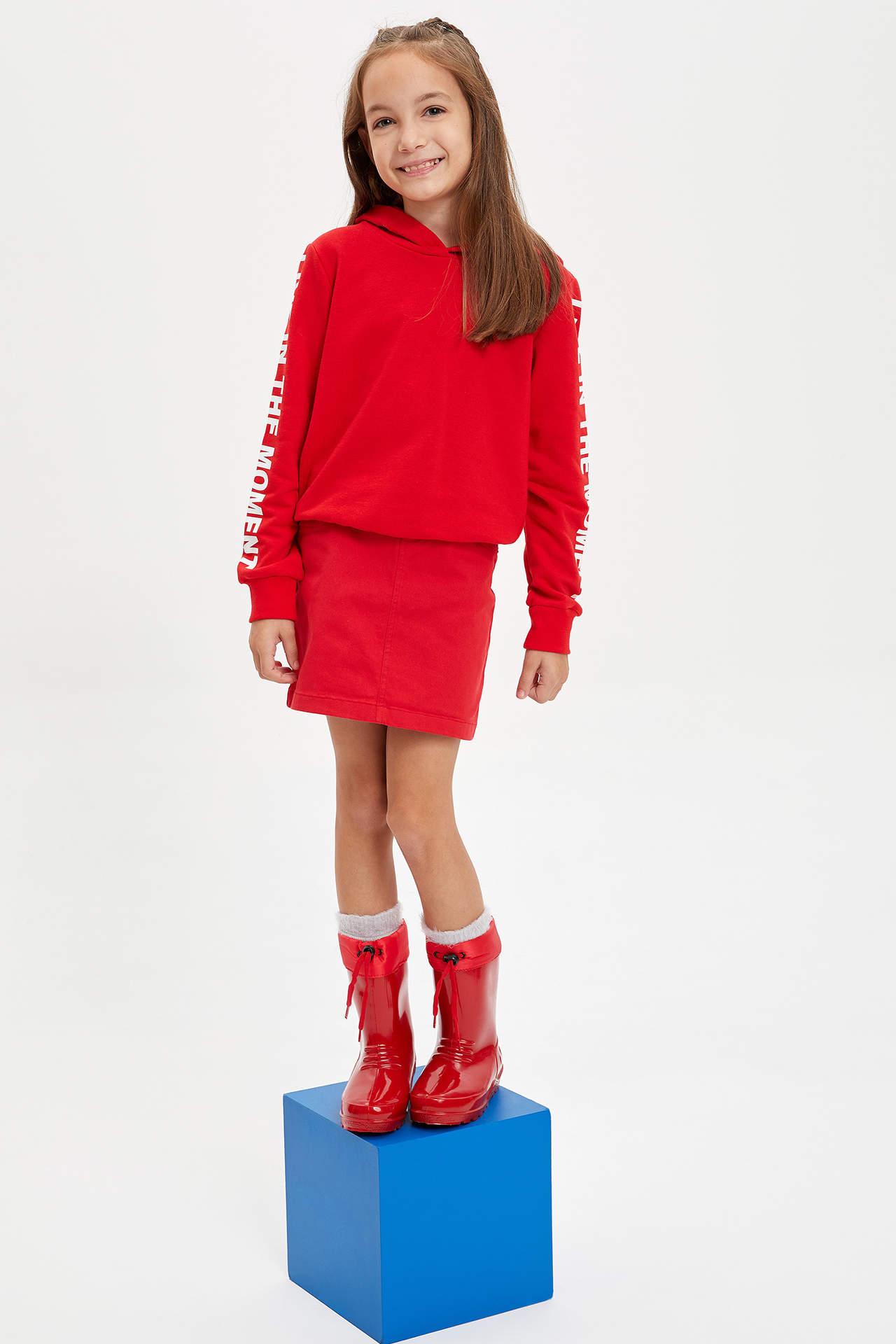DeFacto Kız Çocuk Basic Kısa Etek Kırmızı female