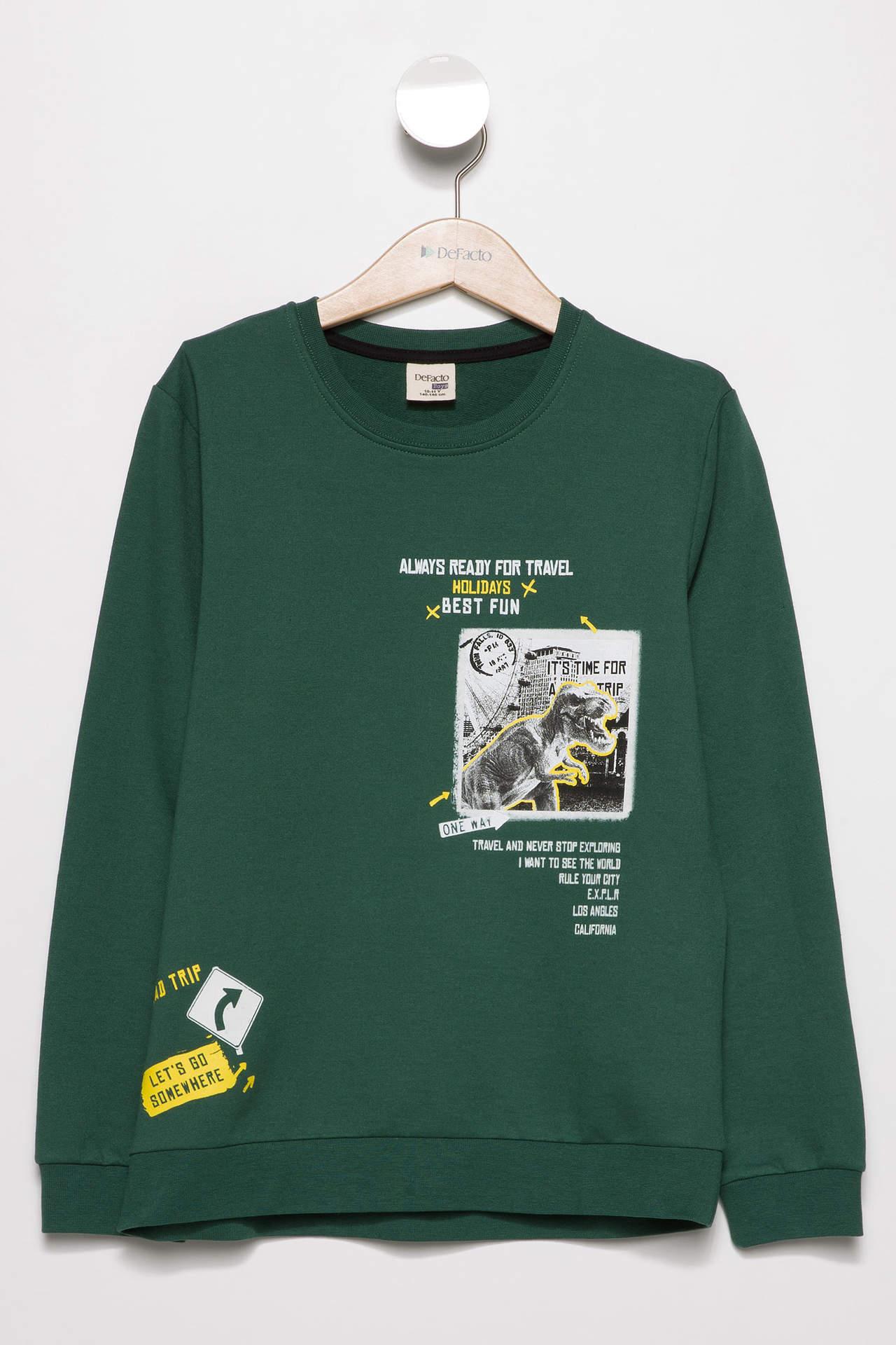 DeFacto Erkek Çocuk Baskılı Sweatshirt Yeşil male