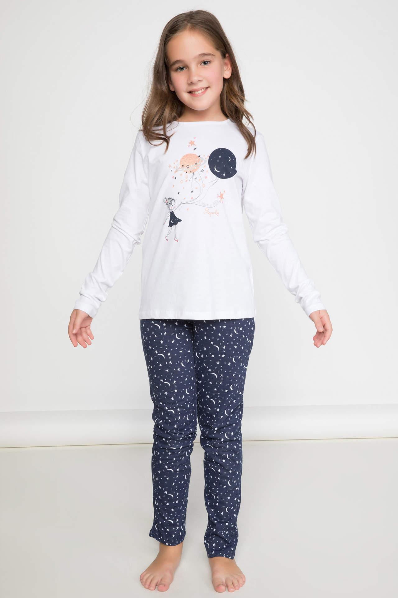DeFacto Kız Çocuk Baskılı Pijama Takımı Beyaz female