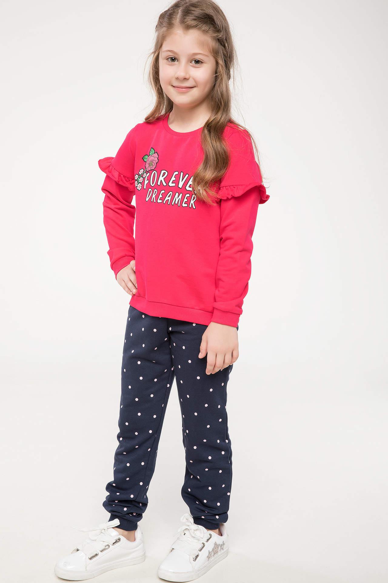 DeFacto Kız Çocuk Jogger Model Desenli Eşofman Altı Pembe female