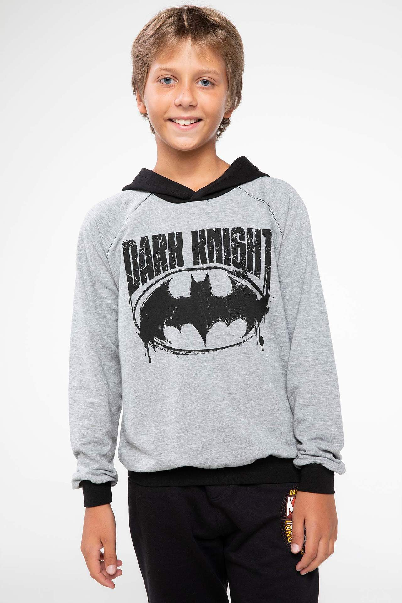 DeFacto Erkek Çocuk Batman Lisanslı Reglan Kol Sweatshirt Gri male