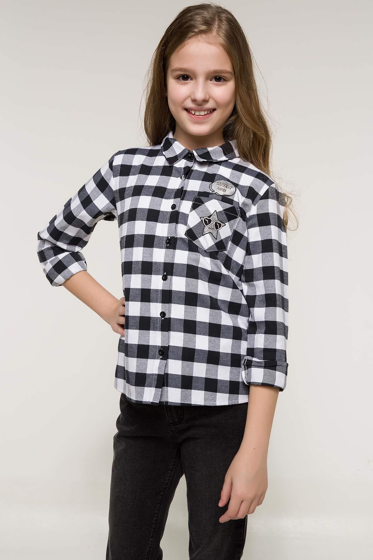 DeFacto Kız Çocuk Kareli Gömlek Siyah female