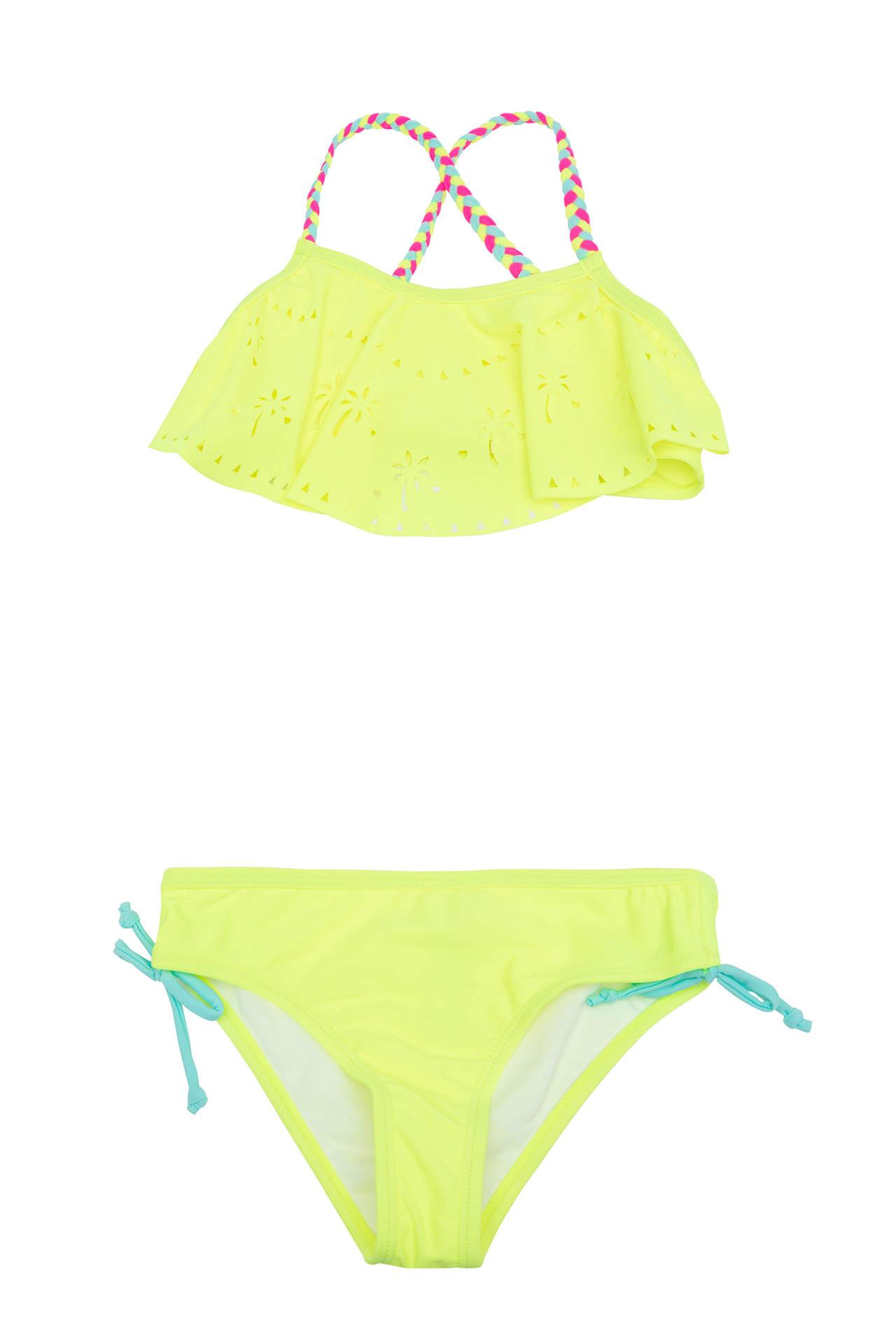 DeFacto Kız Çocuk Lazer Kesim Örgü Askı Detaylı Bikini Sarı female