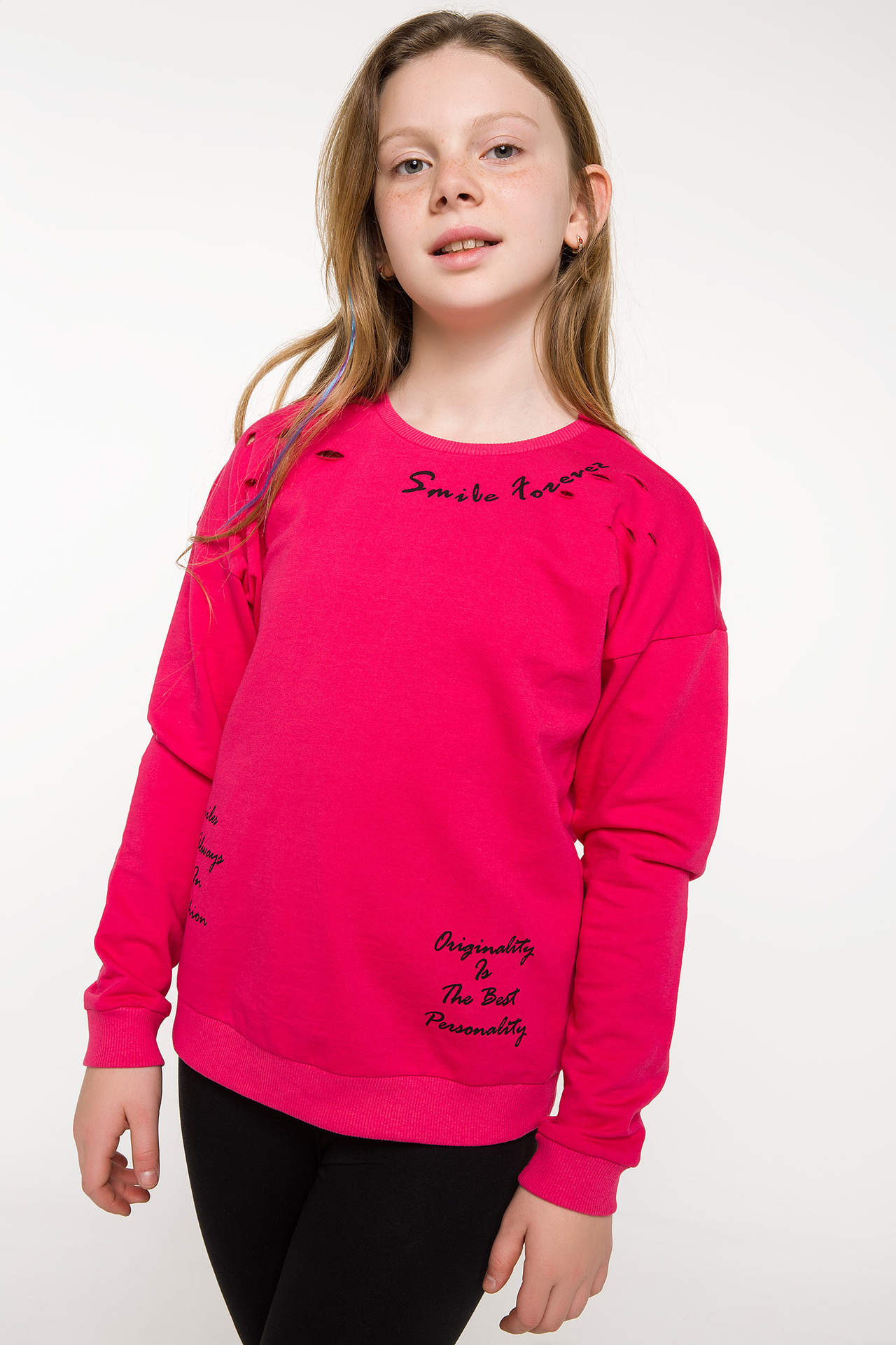 DeFacto Kız Çocuk Baskılı Sweatshirt Pembe female