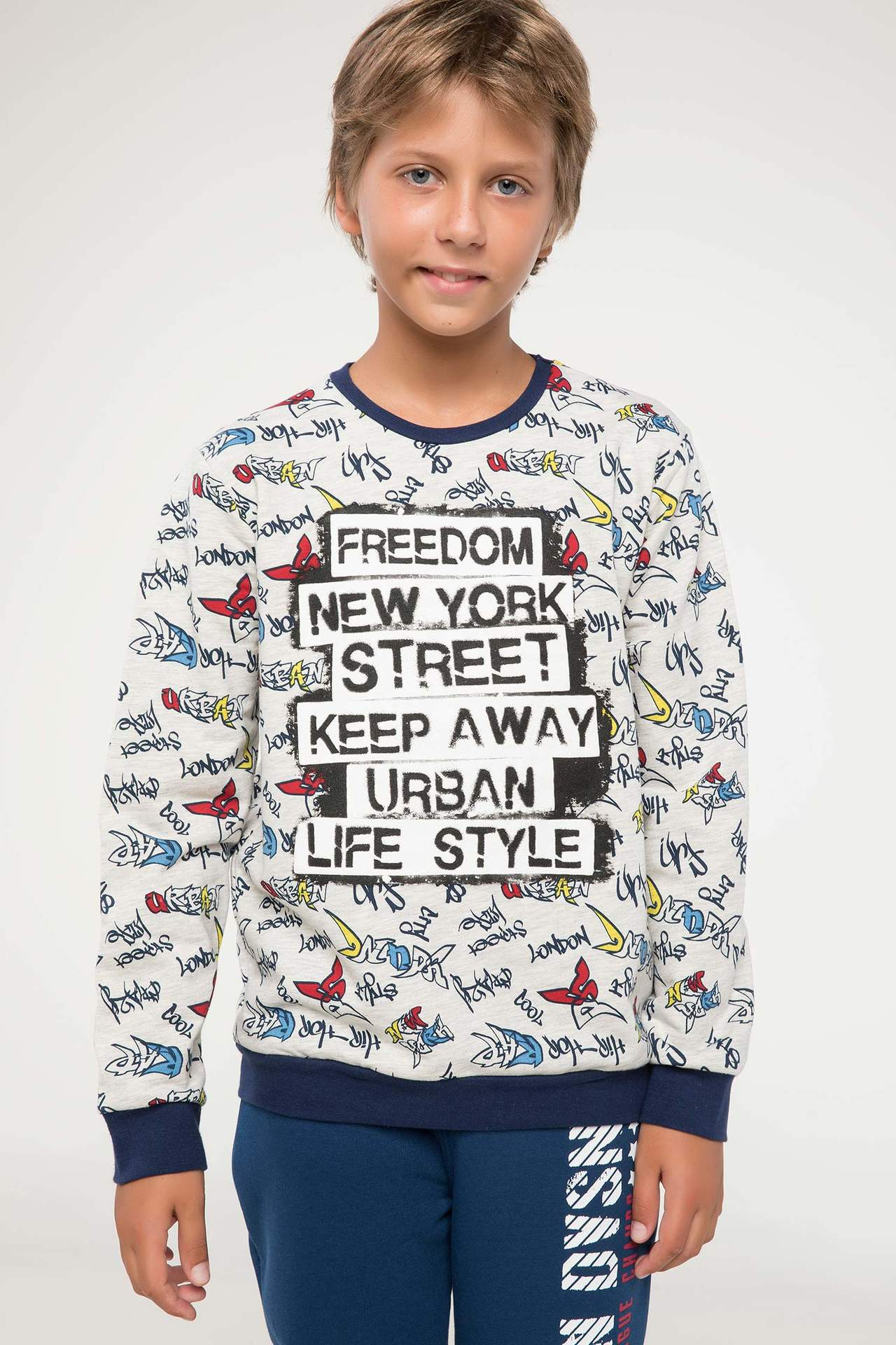 DeFacto Erkek Çocuk Yazı Baskılı Sweatshirt Bej male