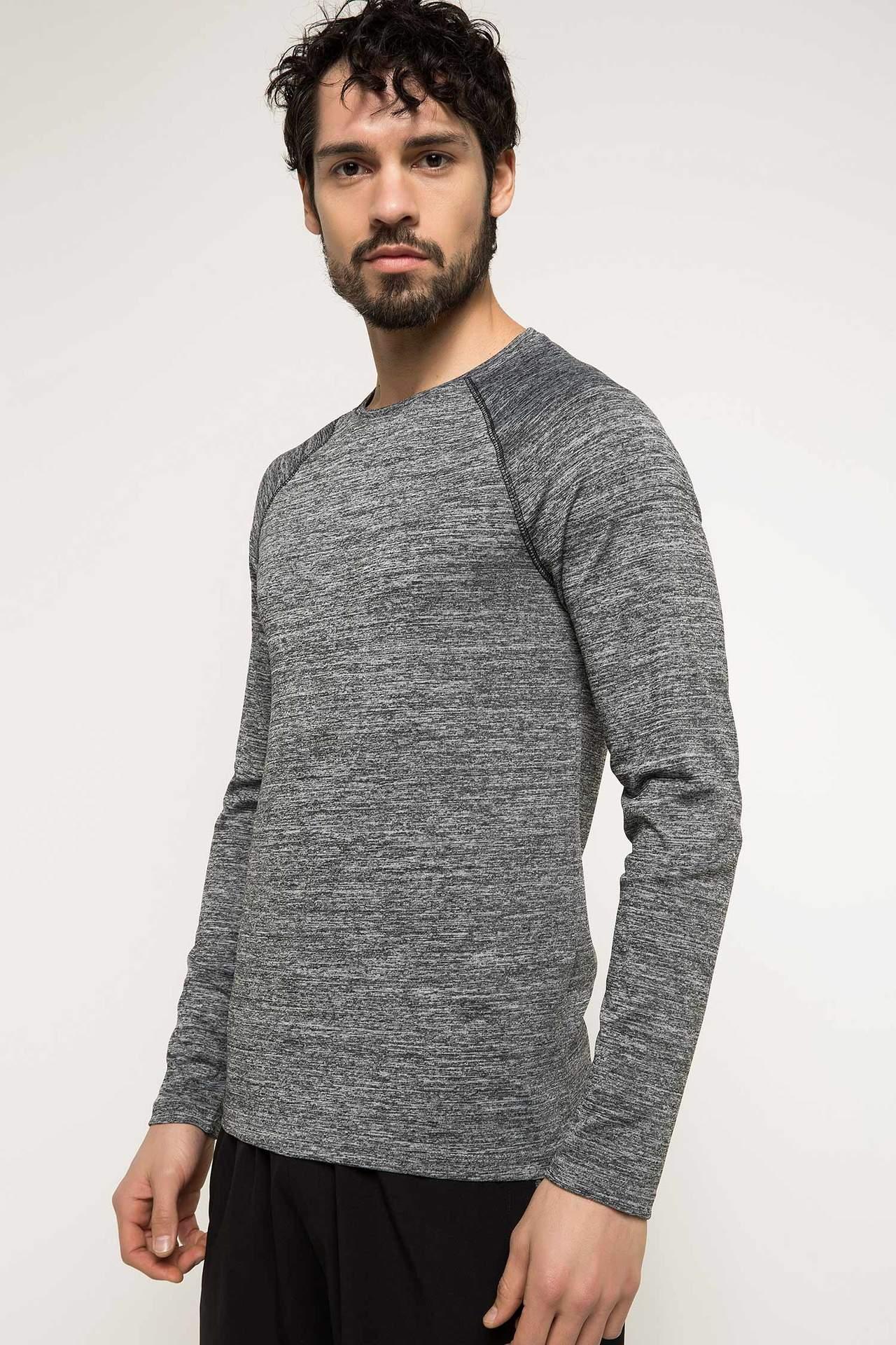 DeFacto Erkek Baskılı Bisiklet Yaka Slim Fit Sporcu T-shirt Gri male