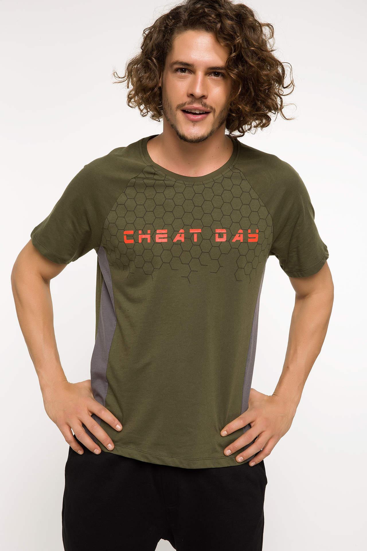DeFacto Erkek Baskılı Bisiklet Yaka Slim Fit Sporcu T-shirt Haki male
