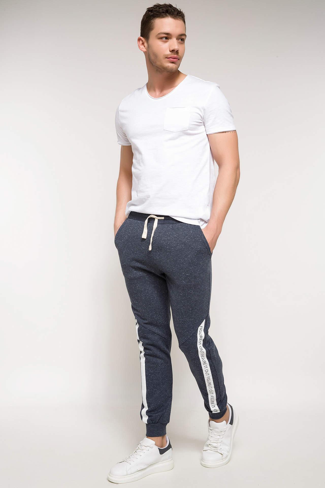DeFacto Erkek Yanları Şerit Detaylı Slim Fit Eşofman Altı Mavi male