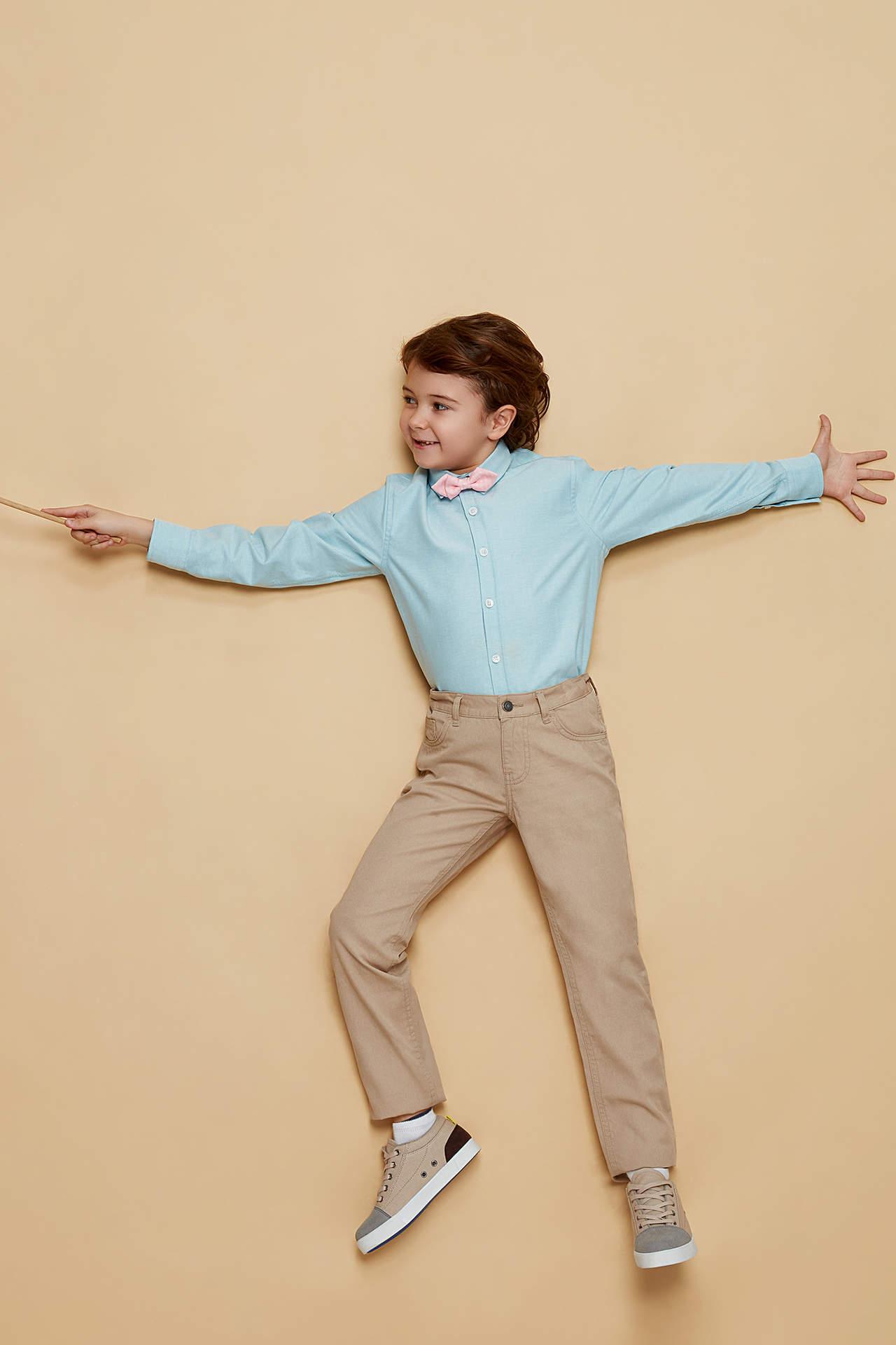 DeFacto Erkek Çocuk Papyon Detaylı Uzun Kollu Gömlek Turkuaz male