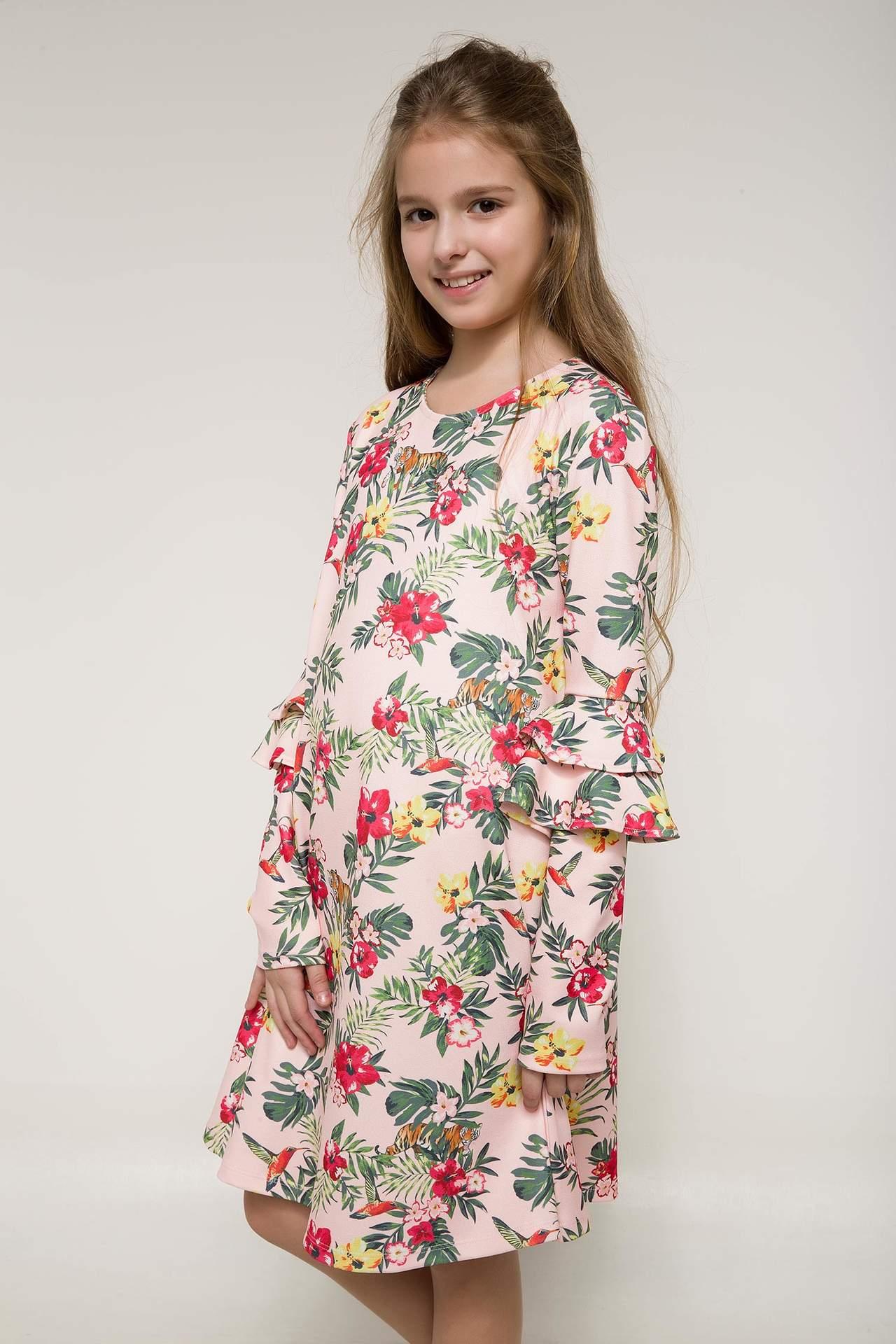DeFacto Kız Çocuk Kolları Fırfırlı Çiçek Desenli Elbise Pembe female