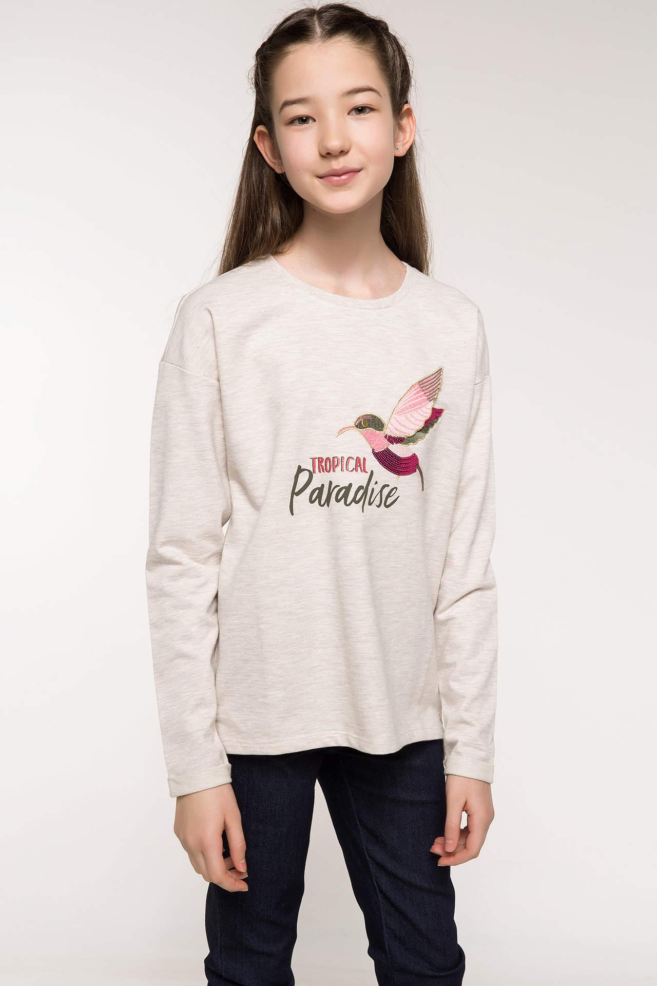 DeFacto Kız Çocuk Baskılı Sweatshirt Ekru female