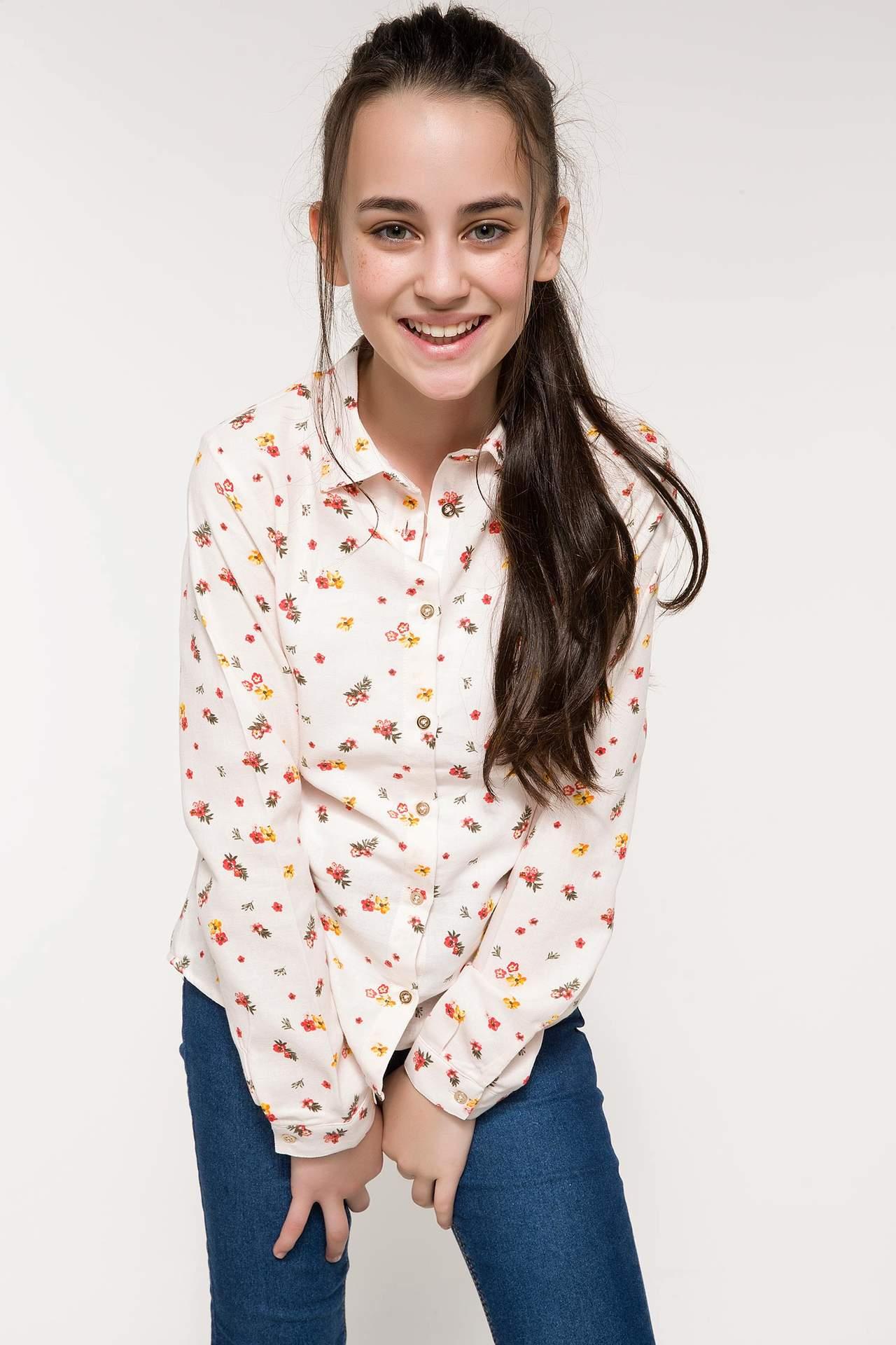 DeFacto Kız Çocuk Çiçek Desenli Gömlek Pembe female