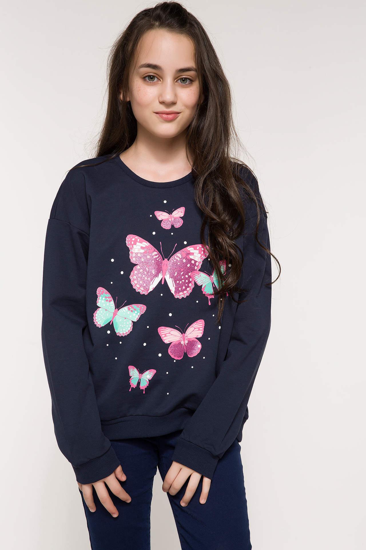DeFacto Kız Çocuk Kelebek Baskılı Sweatshirt Mavi female