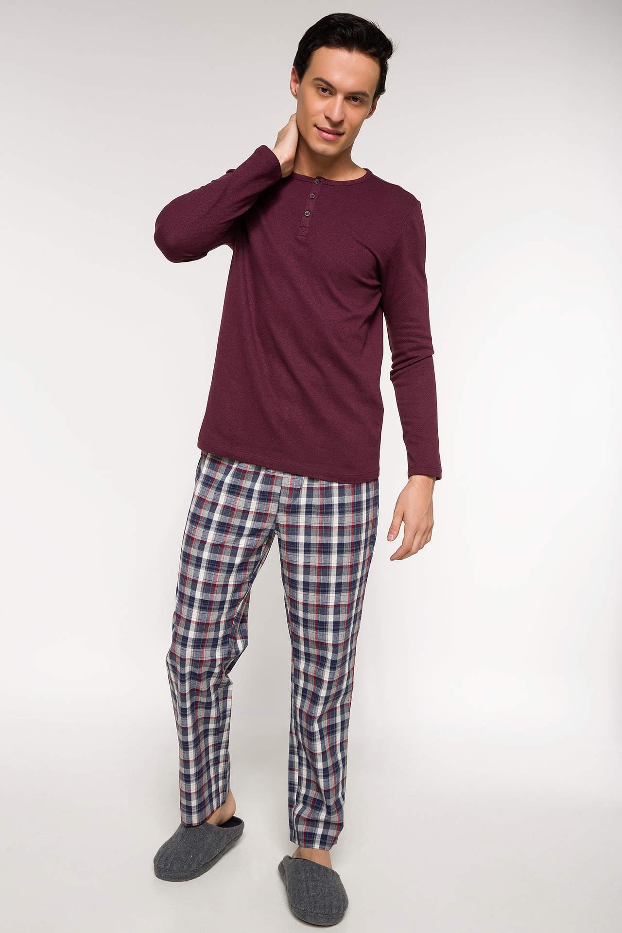 DeFacto Erkek Slim Fit Gadart Yaka Pijama Takımı Bordo male
