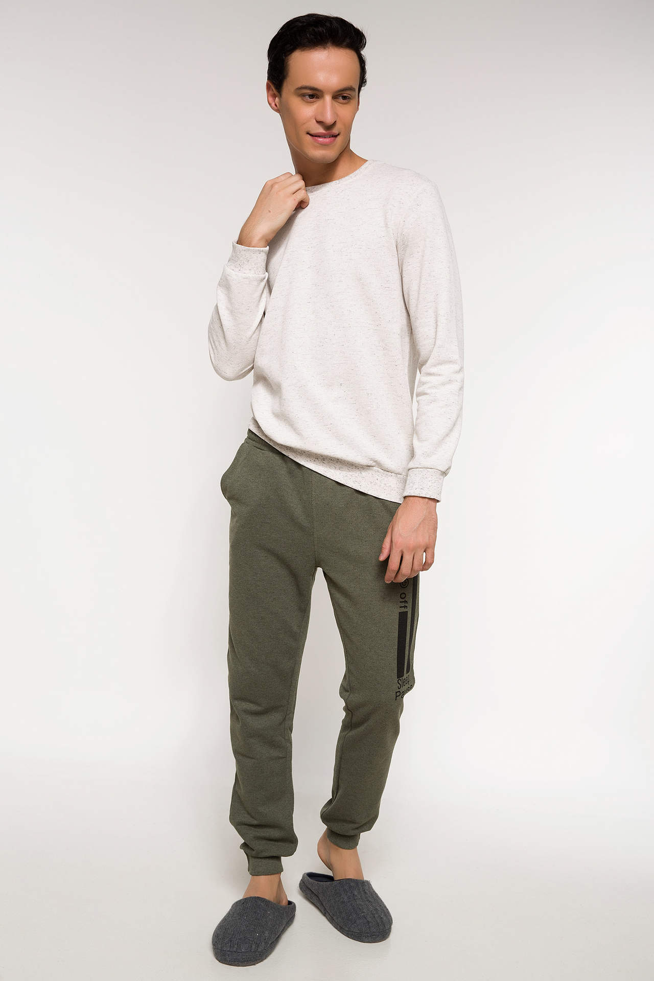 DeFacto Erkek Slim Fit Pijama Takımı Haki male