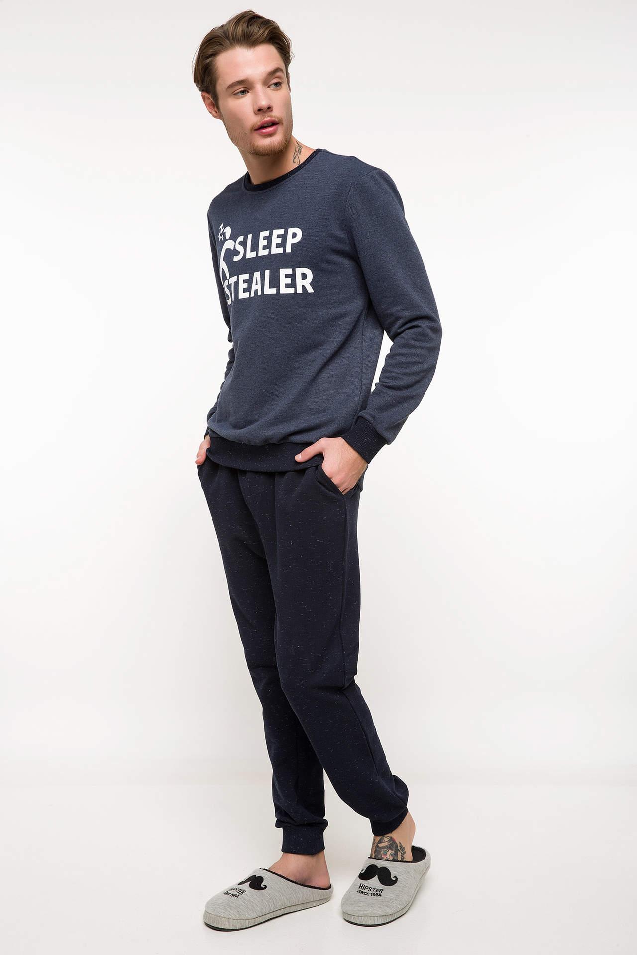 DeFacto Erkek Baskılı Pijama Takımı Lacivert male