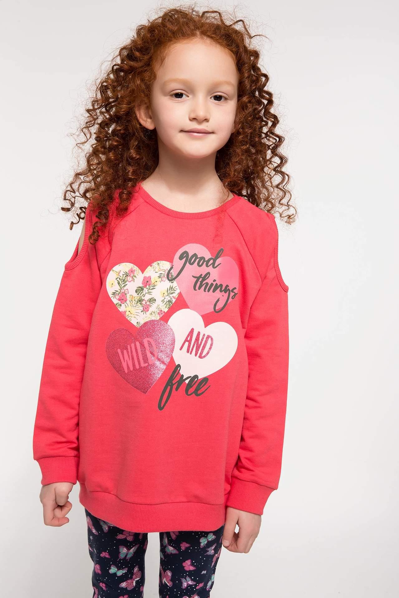 DeFacto Kız Çocuk Kalp Baskılı Sweatshirt Kırmızı female
