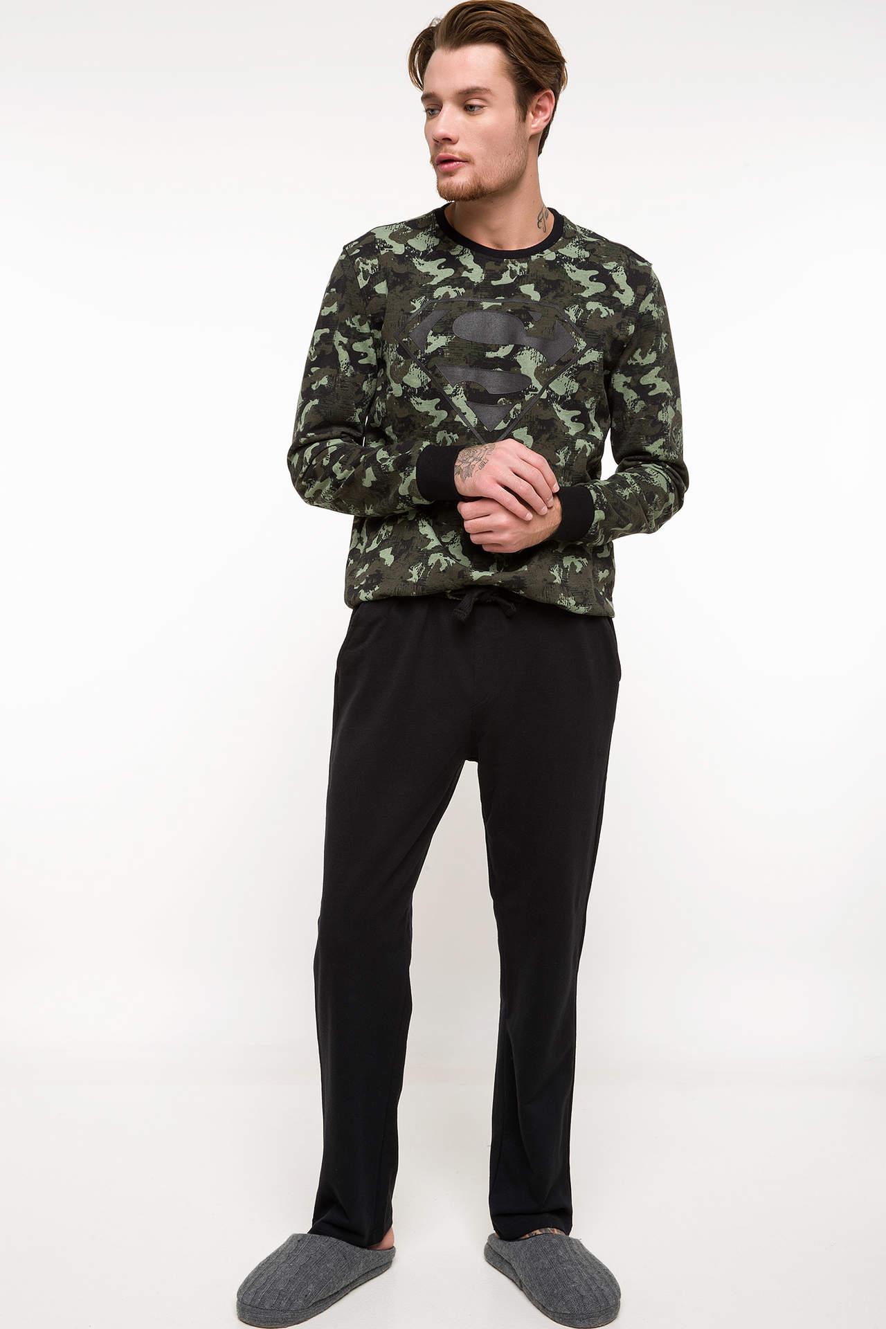 DeFacto Erkek Superman Lisanslı Uzun Kollu Pijama Takımı Siyah male