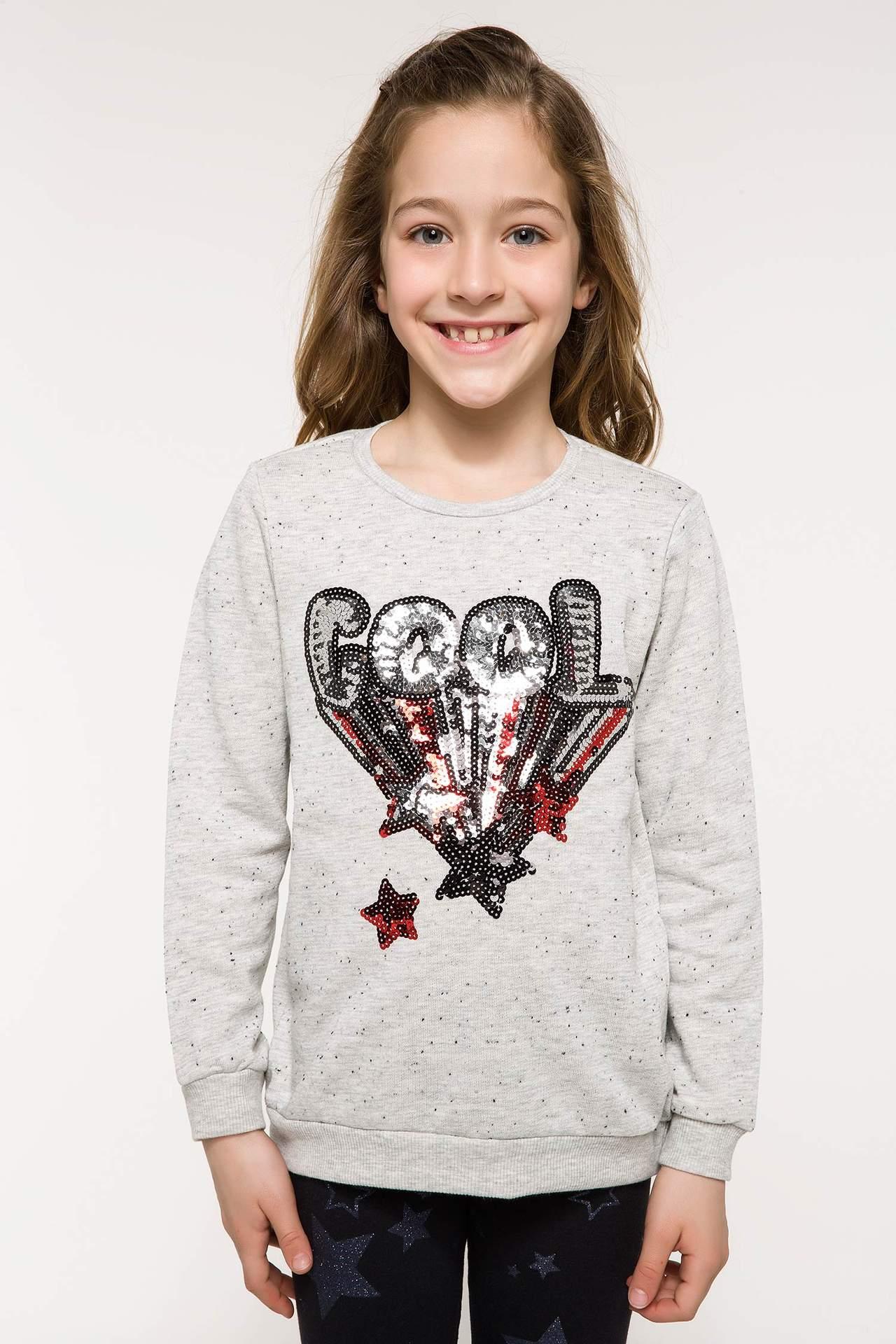 DeFacto Kız Çocuk Payet Detaylı Çift Taraflı Sweatshirt Gri female