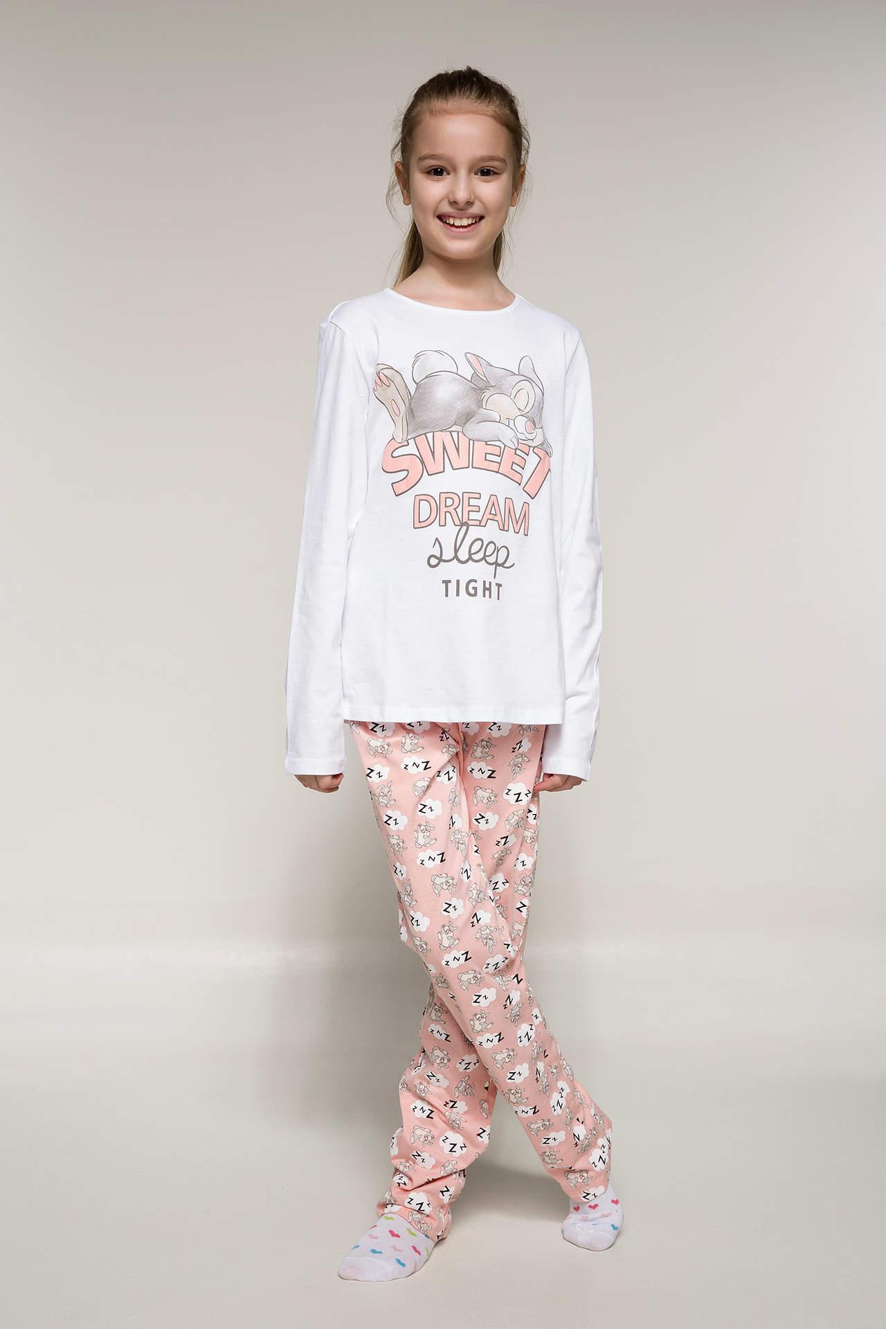 DeFacto Kız Çocuk Lisanslı Alt Üst Pijama Takımı Beyaz female