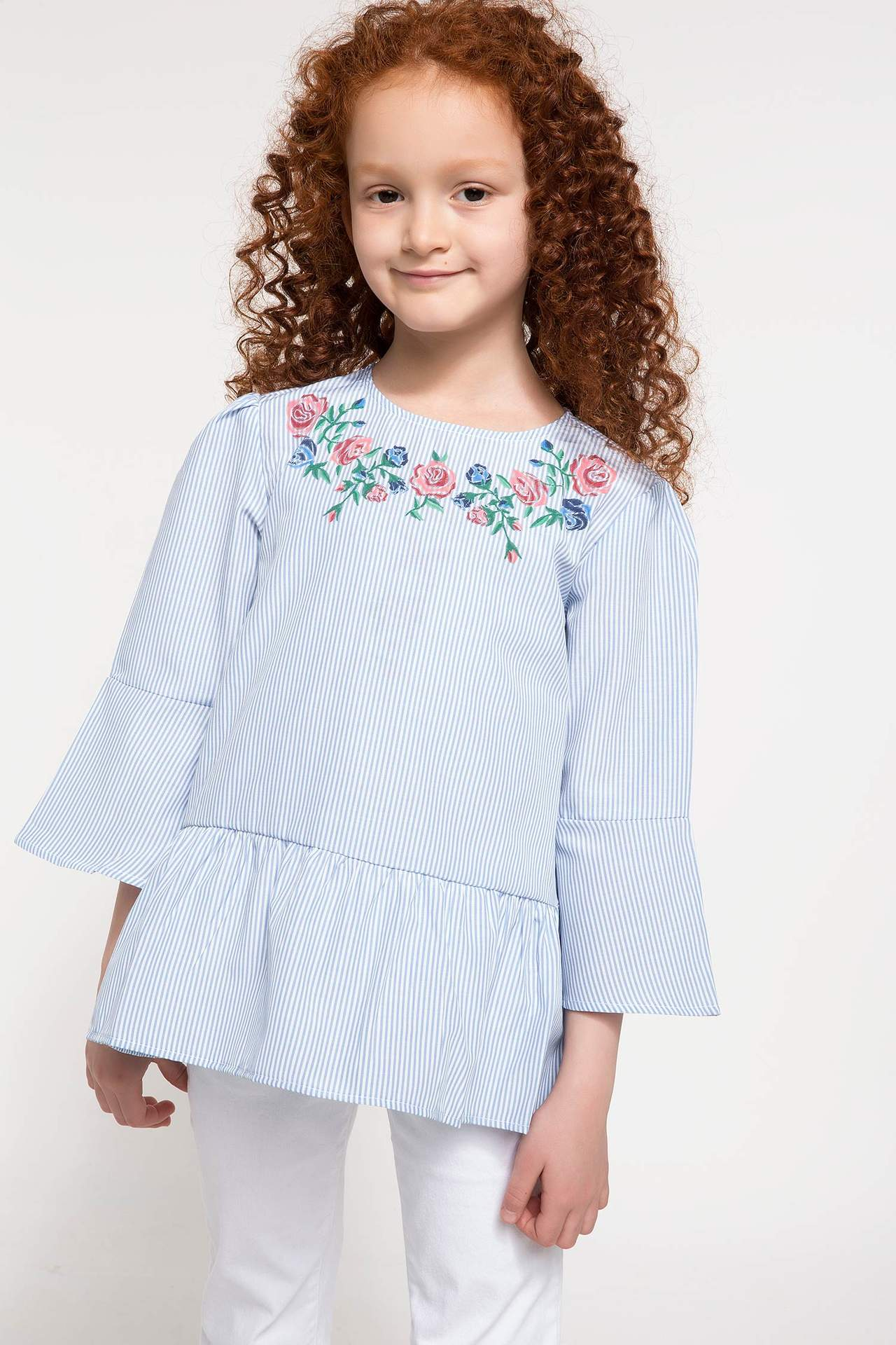 DeFacto Kız Çocuk Volan Detaylı Çiçek Baskılı Gömlek Beyaz female
