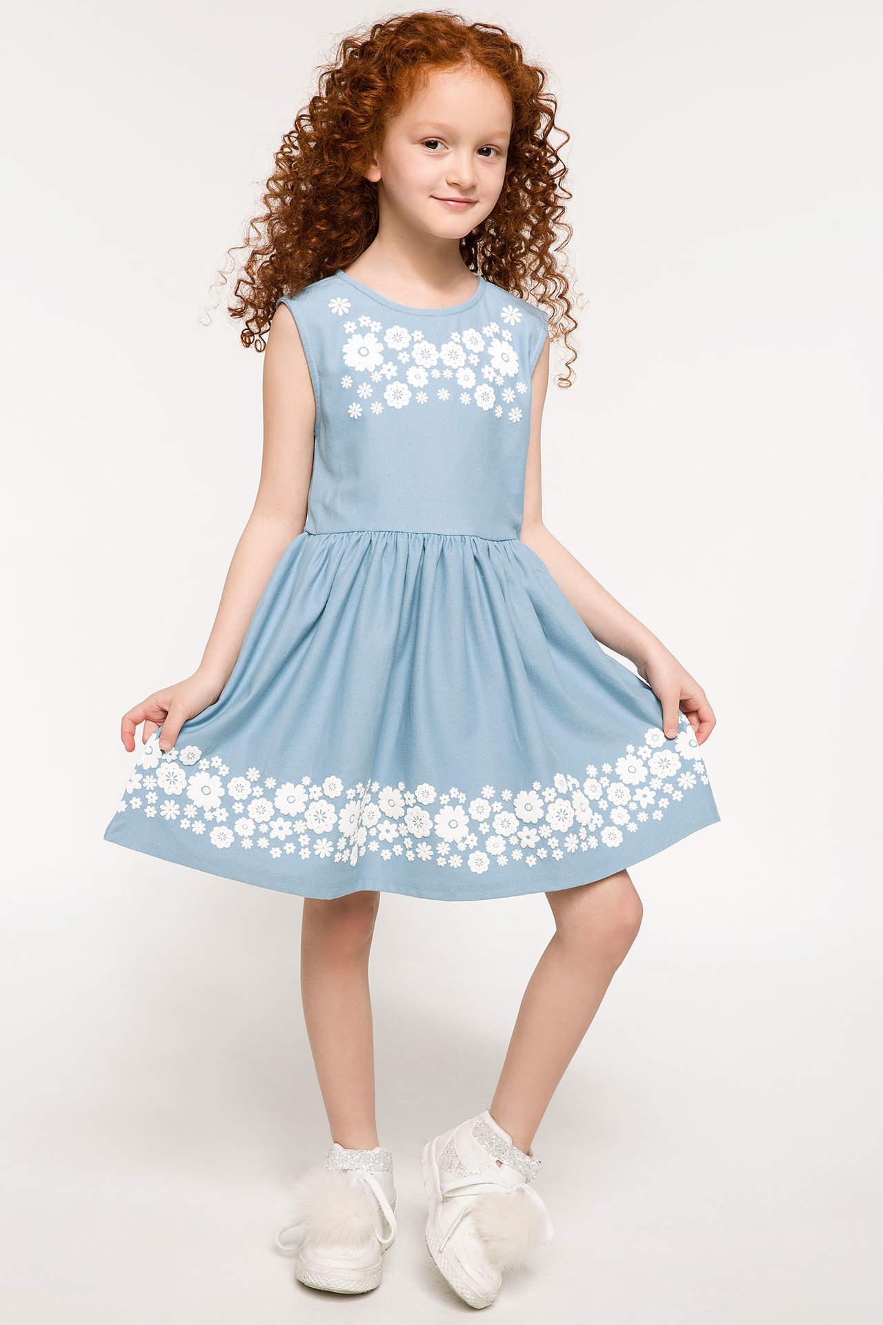 DeFacto Kız Çocuk Çiçek Baskılı Kolsuz Elbise Mavi female